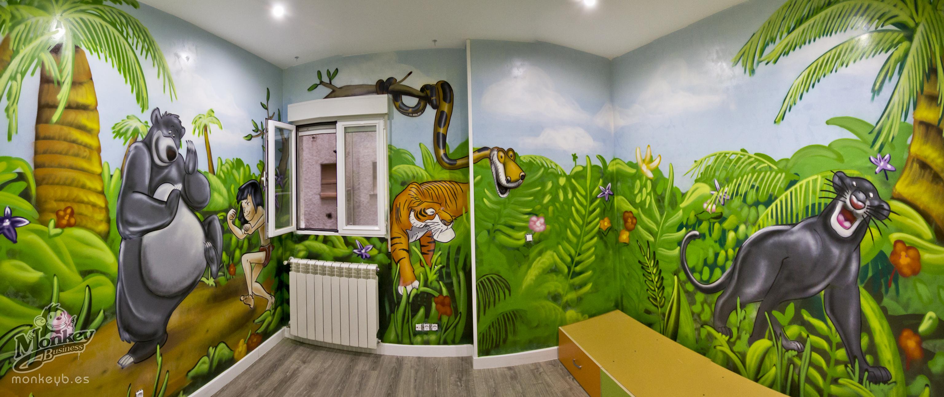 mural infantil juvenil del libro de la selva, jungle book