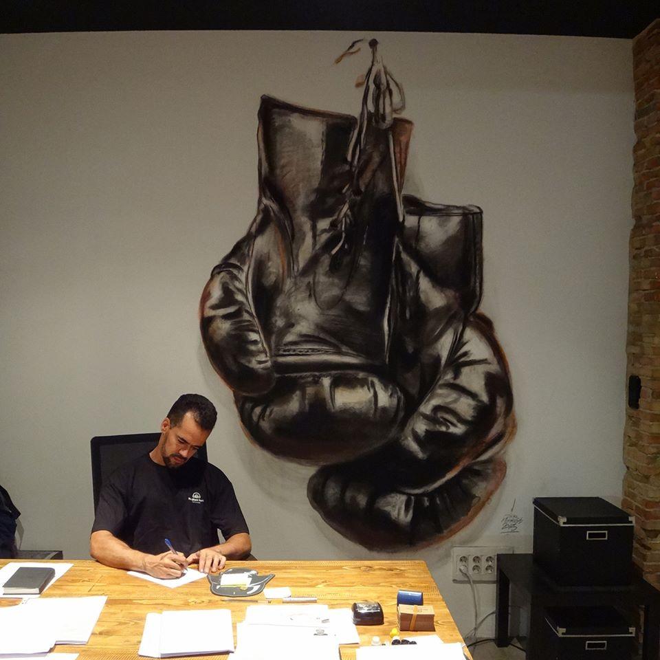Mural Boxeo en despacho